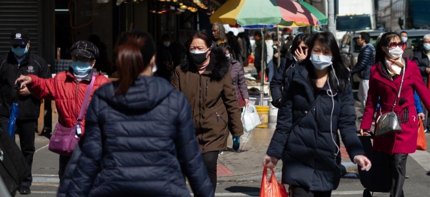 New Yorkers wear masks in March in Brooklyn.