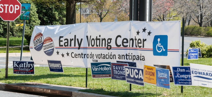 An early voting center is shown in 2016 in Maryland.