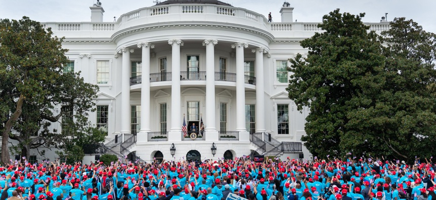 "President Trump addresses a ""law and order"" rally of supporters at the White House on October 10."