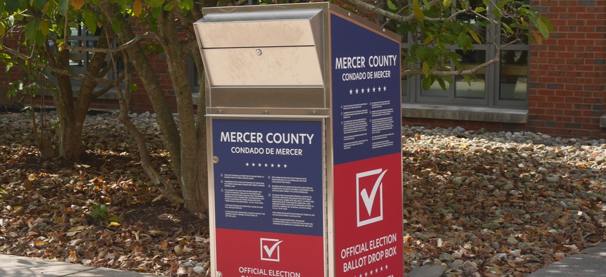 A ballot drop box dropbox is shown in Princeton, New Jersey on October 7.