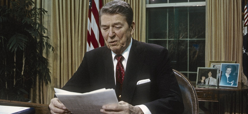 President Ronald Reagan delivers a television speech to the nation in 1988.