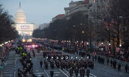 The U.S. Army Field Band marches down Pennsylvania Avenue during the 58th Presidential Inaugural Parade in 2017.