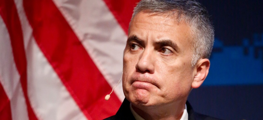 National Security Agency General Paul Nakasone listens during a panel discussion at the Homeland Security Department National Cybersecurity Summit on July 31, 2018, in New York.