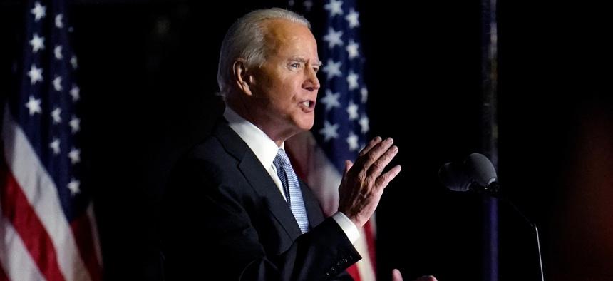 President-elect Joe Biden speaks in Wilmington, Del., on Saturday.