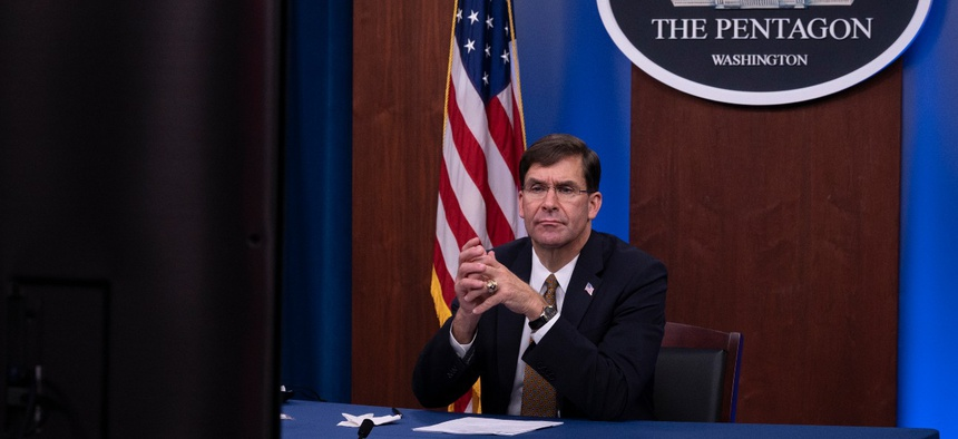 Then-Secretary of Defense Mark Esper conducts Virtual Engagement with Industry Partners at the Pentagon on Oct. 21.