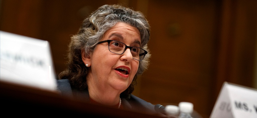 U.S. Federal Election Commission Commissioner Ellen Weintraub testifies on Capitol Hill in Washington on May 22, 2019.