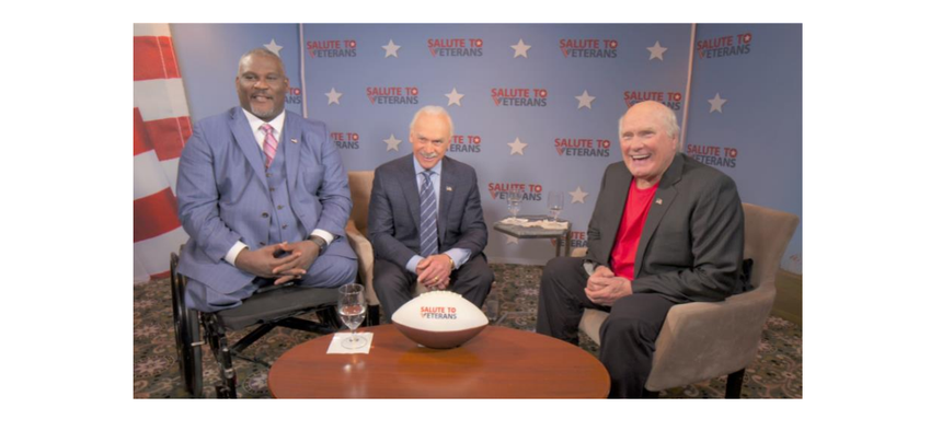 Col. Greg Gadson, Rocky Bleier, and Host Terry Bradshaw on the set of the Salute to Veterans Series. (Courtesy: Salute to Veterans Series)
