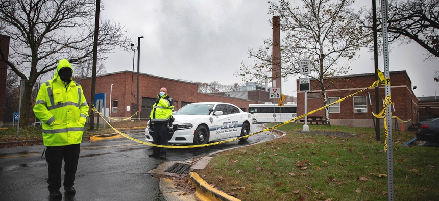 The entrance to a maintenance facility after an apparent steam explosion in a maintenance building at a Veterans Affairs hospital in West Haven, Conn., on Friday.