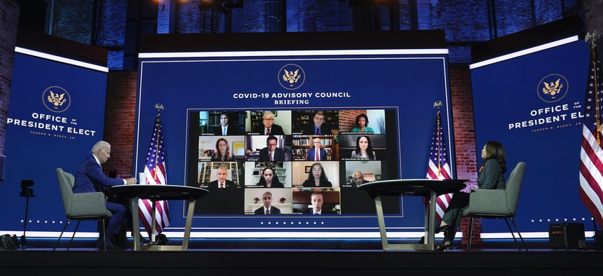Biden and Harris meet with their COVID-19 advisers virtually on Nov. 9.