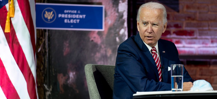 President-elect Joe Biden speaks during a briefing on the economy at The Queen theater Monday in Wilmington, Del.