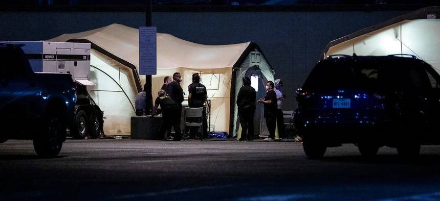 Medical tents are set up at University Medical Center of El Paso during a rapid rise in COVID-19 cases. Credit: