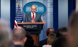 Director of the Office of Management and Budget Russell Vought speaks at the White House in 2019.