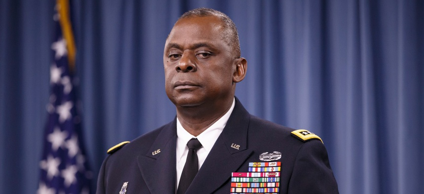 Army Gen. Lloyd J. Austin III, commander of U.S. Central Command, updates reporters at the Pentagon about the military campaign against Islamic State militants in Iraq, on Oct. 17, 2014.