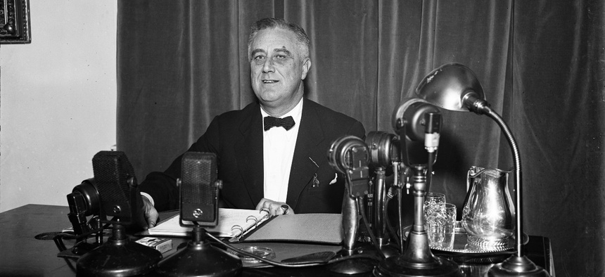 President Franklin D. Roosevelt addresses the nation during one of his fireside chats in 1937.