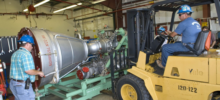 An Aerojet AJ26 rocket engine was delivered to NASA's John C. Stennis Space Center on July 15, 2010. This is the first of a series of Taurus II engines to be tested at Stennis to include acceptance testing of flight engines.