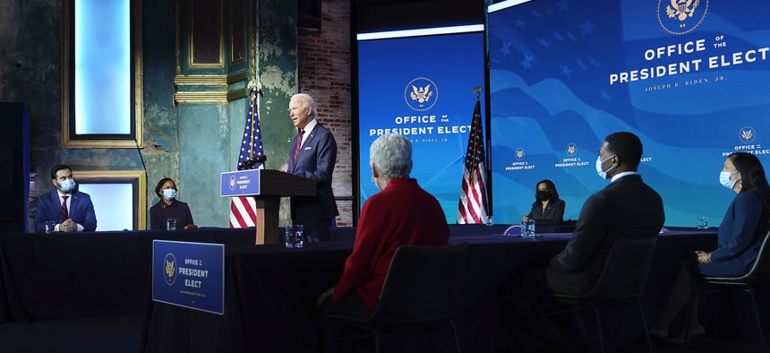 President-elect Joe Biden announces his climate and energy team nominees and appointees at The Queen Theater in Wilmington on Dec. 19.