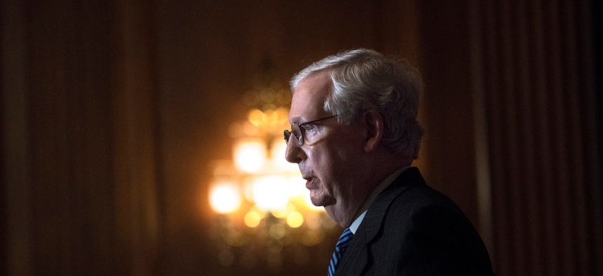 Senate Majority Leader Mitch McConnell at the Capitol in December.