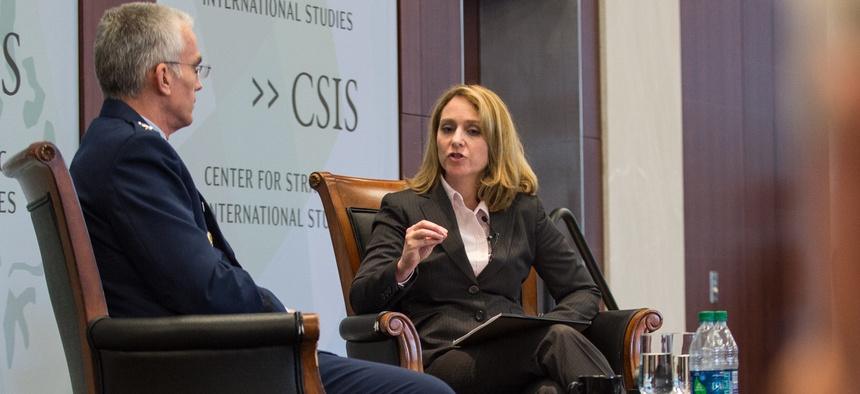 Hicks poses a question to U.S. Air Force Gen. Paul J. Selva, vice chairman of the Joint Chiefs of Staff, during a Military Strategy Forum held by CSIS in Washington in 2016