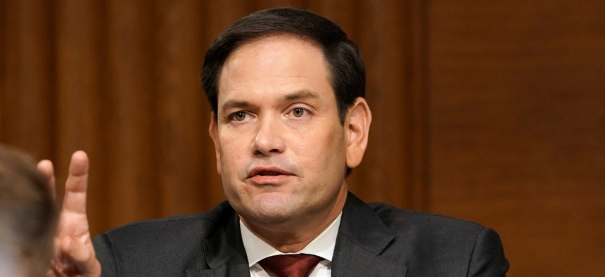 Sen. Marco Rubio, R-Fla., asks a question during a Senate Foreign Relations committee hearing in July. Rubio first introduced the bill in April 2019.