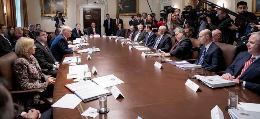 President Donald J. Trump and Vice President Mike Pence participate in a Cabinet meeting Tuesday, Nov. 19, 2019, in the Cabinet Room of the White House.
