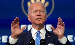 President-elect Joe Biden speaks about the COVID-19 pandemic during an event at The Queen theater on Thursday in Wilmington, Del.