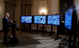 President Biden speaks during a virtual swearing in ceremony of political appointees from the State Dining Room of the White House on Wednesday.