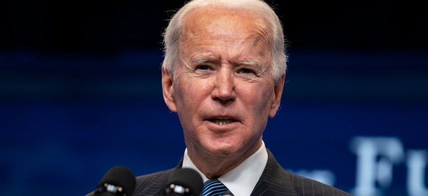 President Biden answers questions from reporters in the South Court Auditorium on the White House complex on Monday.