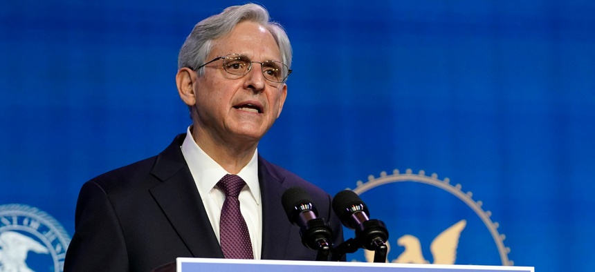 Attorney General nominee Merrick Garland speaks during an event with President-elect Joe Biden and Vice President-elect Kamala Harris at The Queen theater in Wilmington, Del., on Jan. 7.