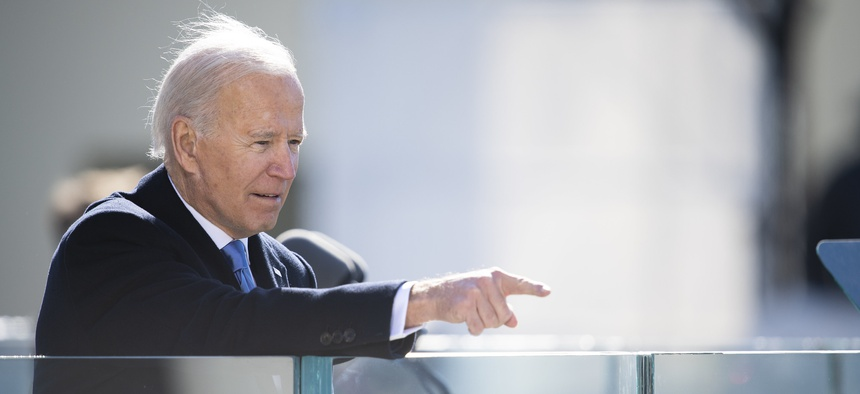 Biden points after his inaugural speech on Jan. 20.