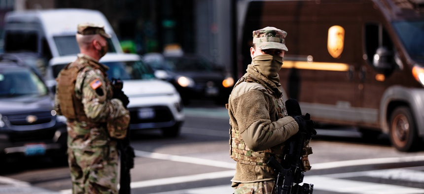 National Guard troops support federal law enforcement in Washington, D.C., following the U.S. Capitol riots on January 6, 2021.