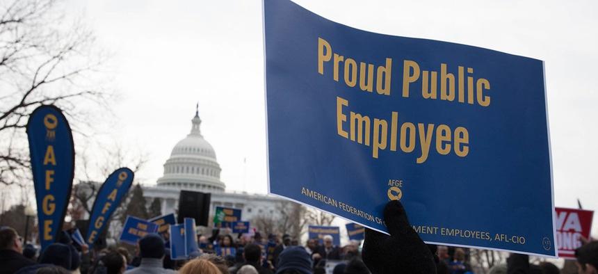 AFGE members rally in Washington in 2018