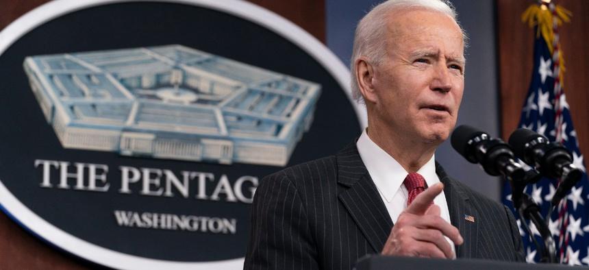 President Biden speaks at the Pentagon on Feb. 10.