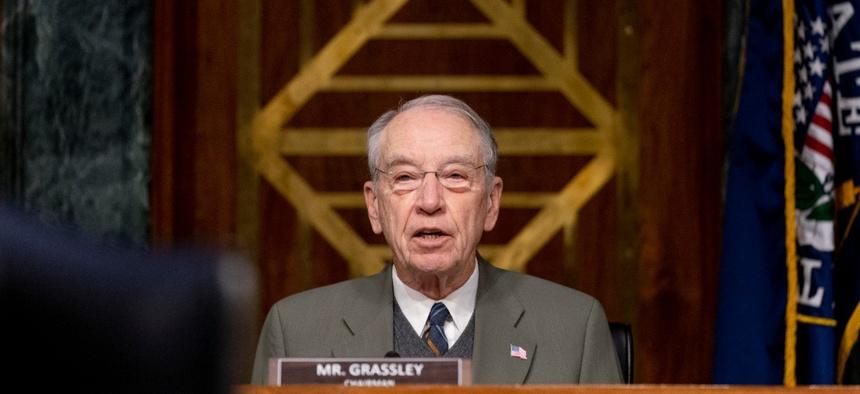 Sen. Chuck Grassley, R-Iowa, speaks during a Senate Finance Committee hearing in January.