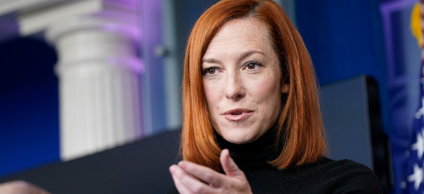 White House press secretary Jen Psaki speaks during a press briefing at the White House on Tuesday.