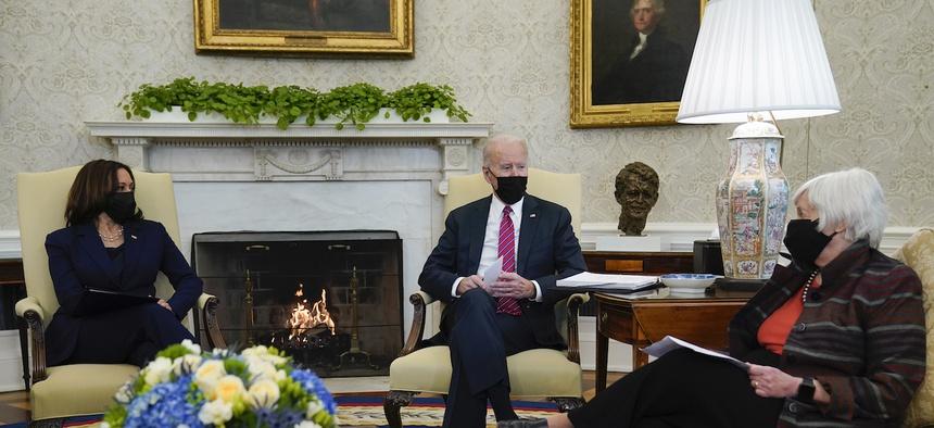 Joe Biden has more top advisers who are women than any other U.S. president. They include Vice President Kamala Harris and Treasury Secretary Janet Yellen.