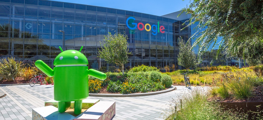 Google headquarters are show in Mountain View, California in 2016.