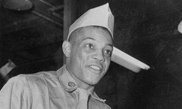 Pvt. Willie Mays, of the New York Giants' outfield, after being sent to Camp Kilmer, N.J. for processing following his induction into the U.S. Army on May 28, 1952.