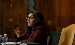 Neera Tanden, President Joe Biden's nominee for Director of the Office of Management and Budget speaks as she appears before a Senate Committee on the Budget hearing on Capitol Hill in Washington on February 10.
