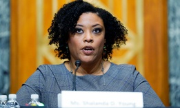 Shalanda Young testifies during a Senate Budget Committee hearing Tuesday to examine her nomination to be deputy director of the Office of Management and Budget.