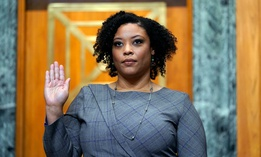 Shalanda Young is sworn in prior to testifying before a Senate Budget Committee hearing to examine her nomination to be Deputy Director of the Office of Management and Budget on Capitol Hill March 2, 2021.