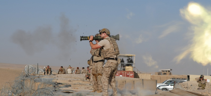 A special operations forces member attached to Special Operations Task Force Southeast fires an AT-4 shoulder-fired rocket launcher in 2012 in Afghanistan.
