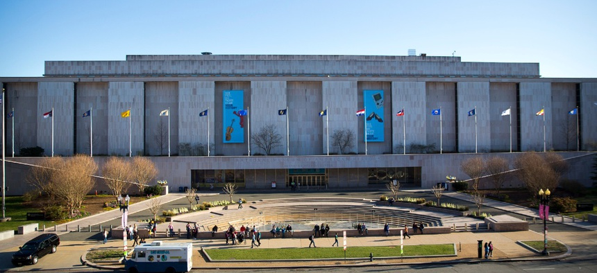 People visit the Smithsonian Museum of American History on the National Mall in Washington in April 2019.